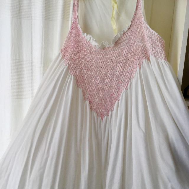 Find more Romantic White Cotton Summer Night Gown With Pink Smocking ... ed6f67ddb