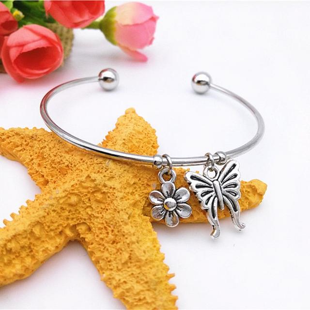 Best 5 00 New Pretty Bangle Bracelet With 2 Hanging Charms