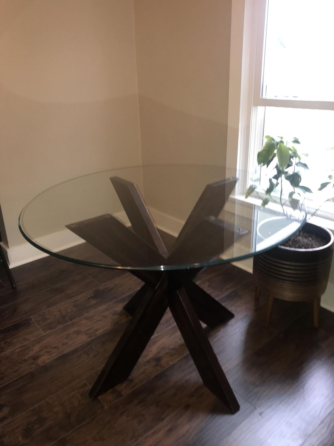 Find More Pier 1 Espresso X Table Base With Glass Table Top For Sale At Up To 90 Off