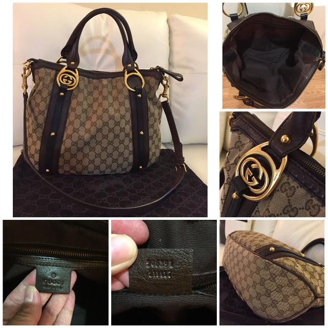 ece84ab4c121c2 Find more Beautiful Authentic Gucci Large Gg Monogram Beige Canvas W ...