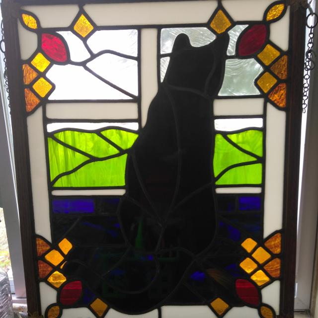 Stained Gl Black Cat Window For
