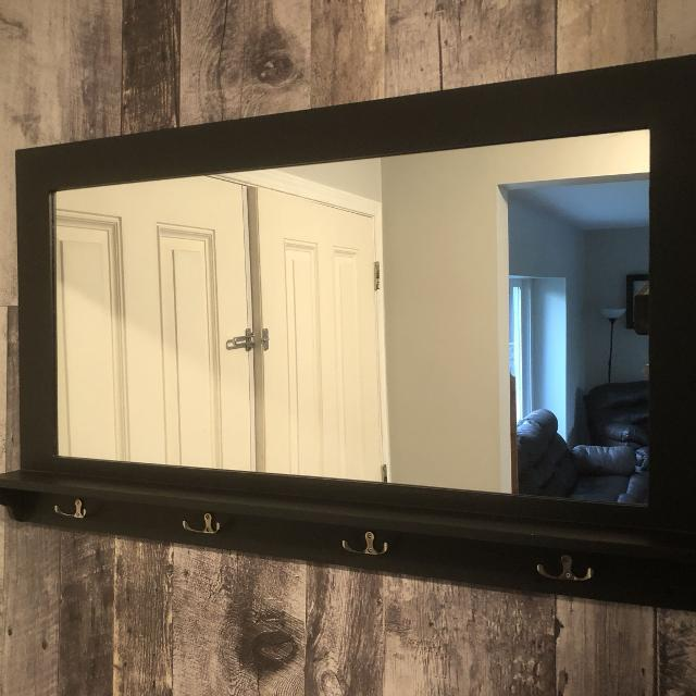 Black Entry Hall Mirror With Coat Hooks