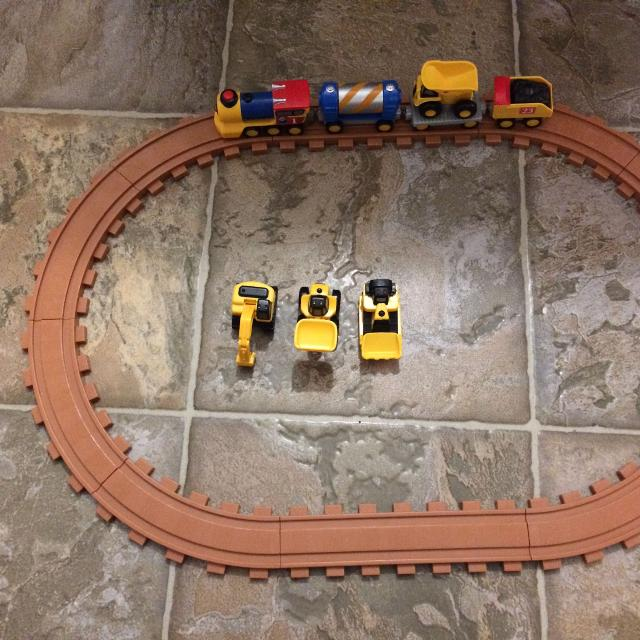 Lights and sounds Cat Preschool train, track and construction vehicles set