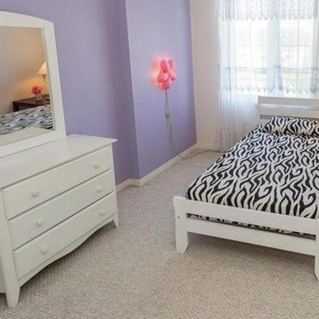 White Wooden Single Bed With Mattress And Dressing Table With Framed Mirror