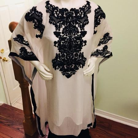 Kaftan dress tops embroidered black for sale  Canada
