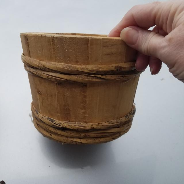 Small Wooden Barrel Planter