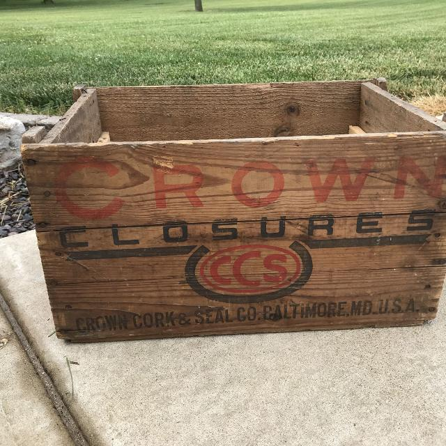 Wood Advertising Shipping Crate Crown Closures Cork Seal Company Baltimore Md W Double Cola Label Bottle Cap