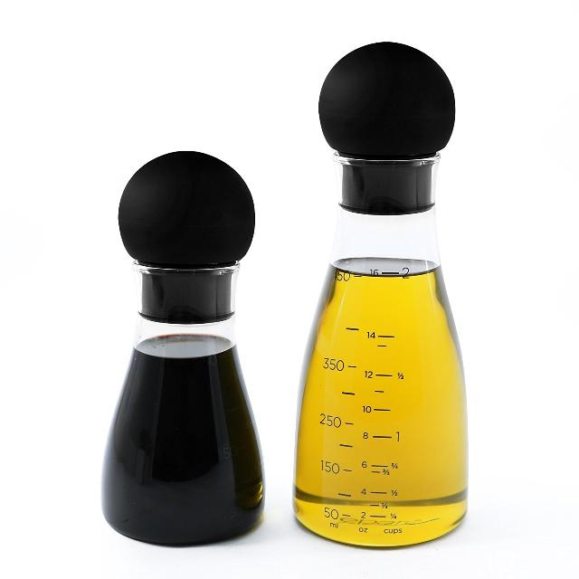 New On Olive Oil And Vinegar Bottle Dispenser Set Drip Catching Spout