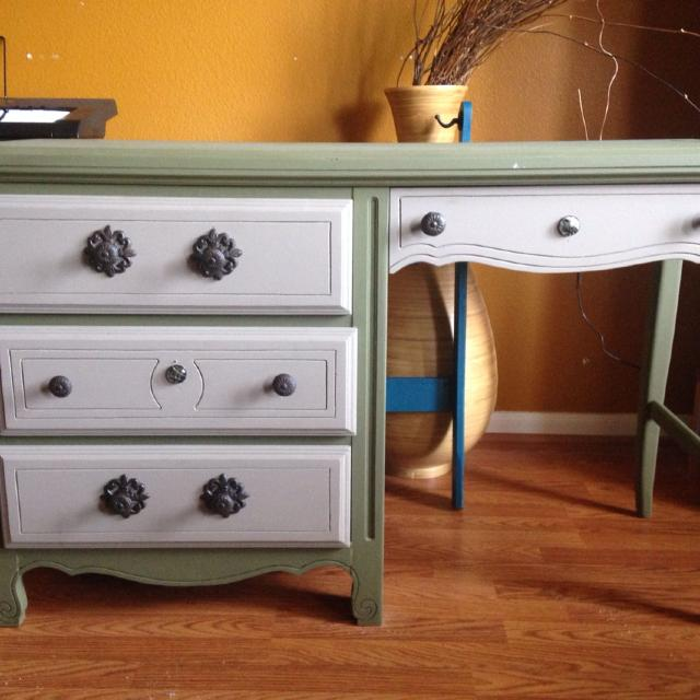 Antique desk for sale. Painted in Annie Sloan chalk paint coco and olive.  Dimensions - Find More Antique Desk For Sale. Painted In Annie Sloan Chalk