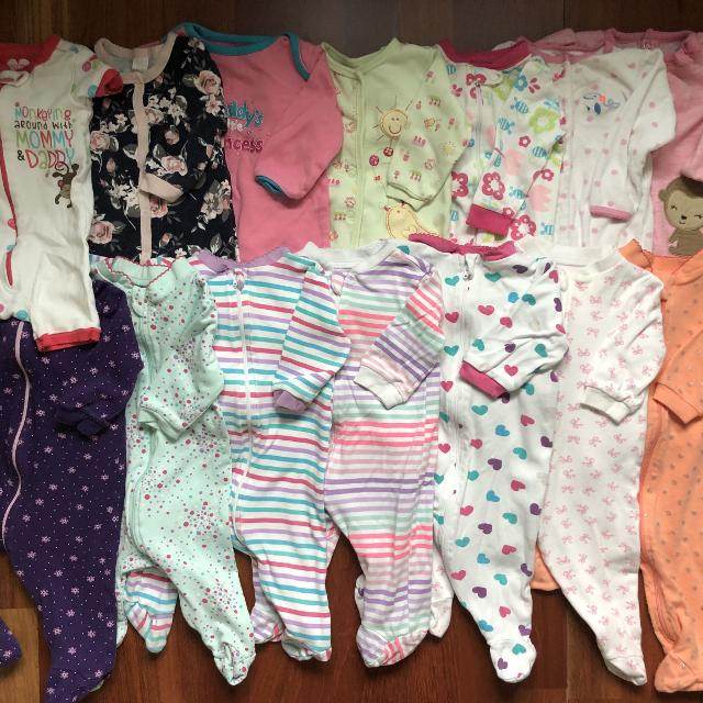 396d26bc0 Find more Lot Of 14 Baby Girl Sleepers 3-6 Months for sale at up to ...