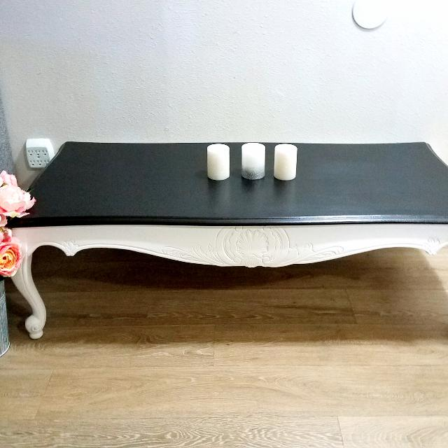 Shabby Chic French Provincial Solid Wood White On Black Coffee Table