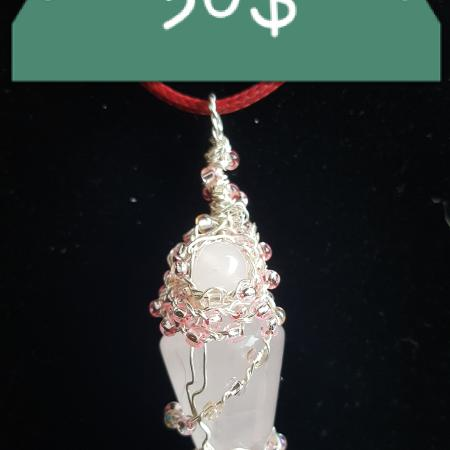 ROSE QUARTZ WITH CZECH BEADS PENDANT 30$ for sale  Canada