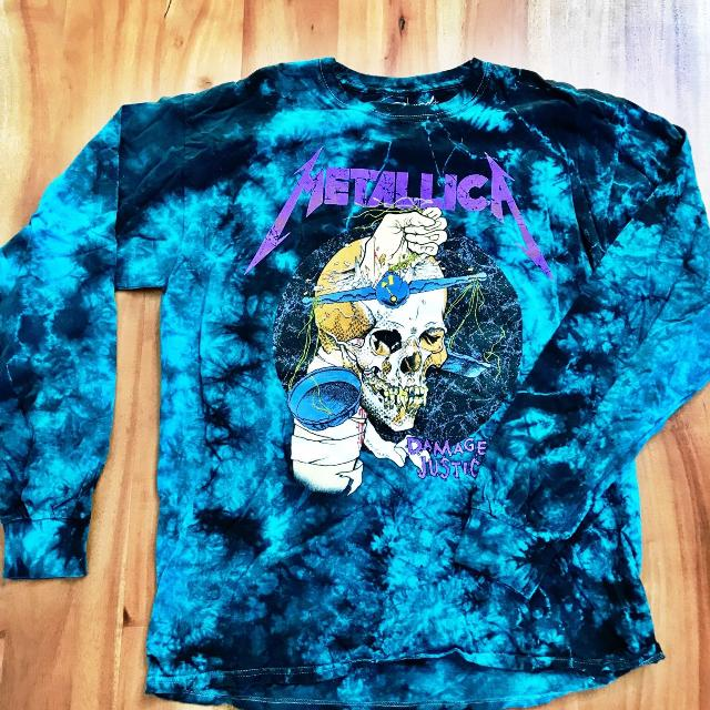 Best New Urban Outfitters Metallica Tie Dye Long Sleeve Shirt For