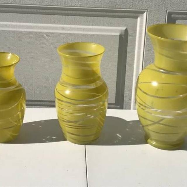 Best 3 Piece Yellow Glass Decorative Vases For Sale In Trinity