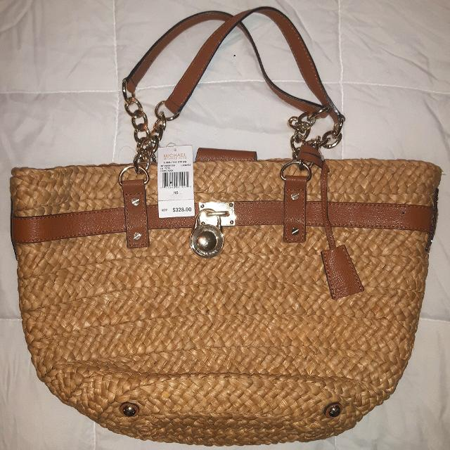 Final Reduction Brand New Michael Kors Straw Tote And Leather Handbag