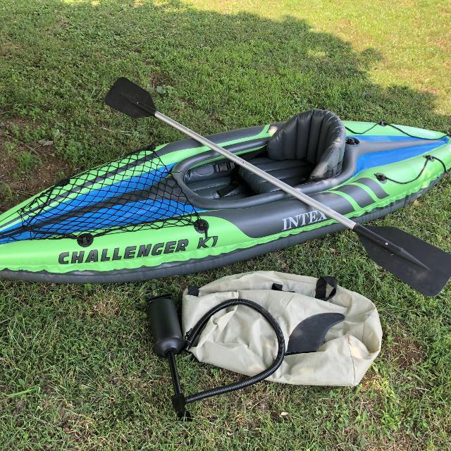 Intex Challenger K1 Inflatable Kayak, includes storage bag, tracking fin,  air pump, aluminum paddle, removable seat, EUC, $45  Discount PPU