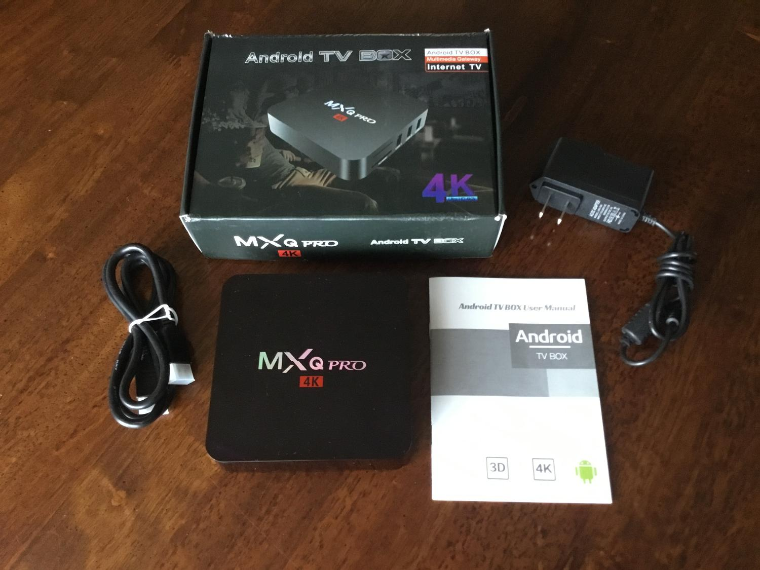 Android Tv Box multimedia gateway INTERNET TV MXQPRO 4K incl remote,power  cord,hd cable instructions