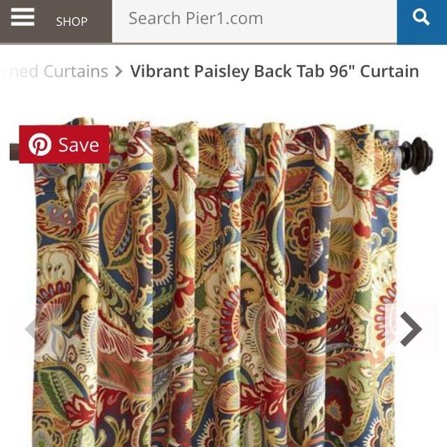 Set Of 6 Pier 1 96 Vibrant Paisley Curtain Panels