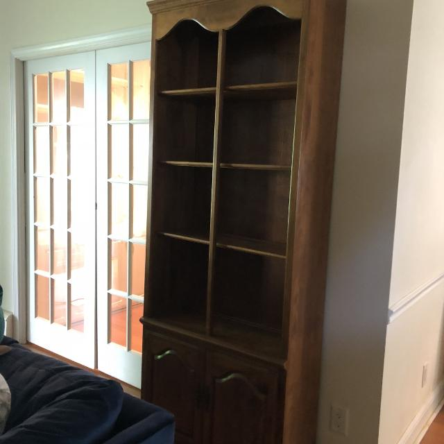 Vintage Wood Bookshelf With Cabinet