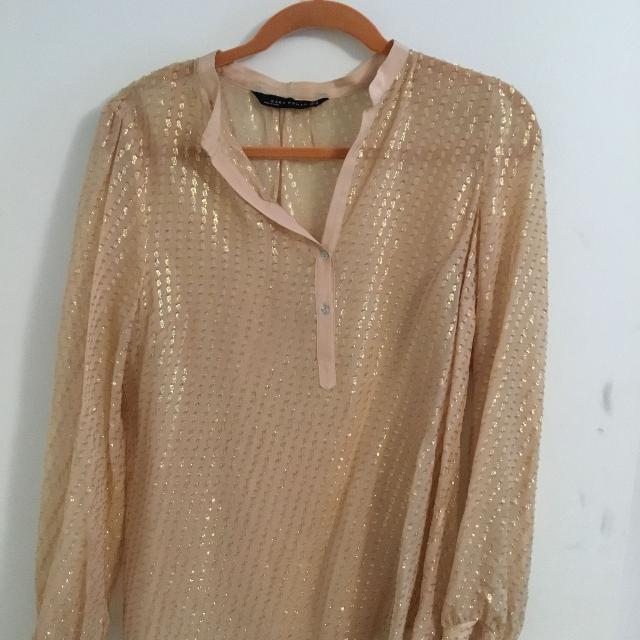 d21aca67d18a23 Find more Zara Pink And Gold Blouse for sale at up to 90% off