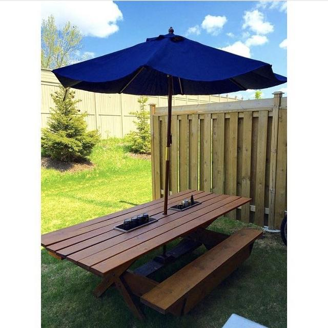 Custom Built Picnic Table With Coolers