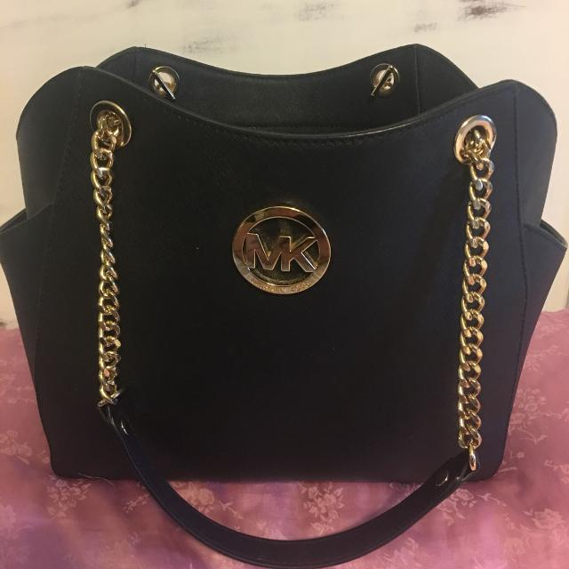 Black Leather Michael Kors Purse With Gold Hardware