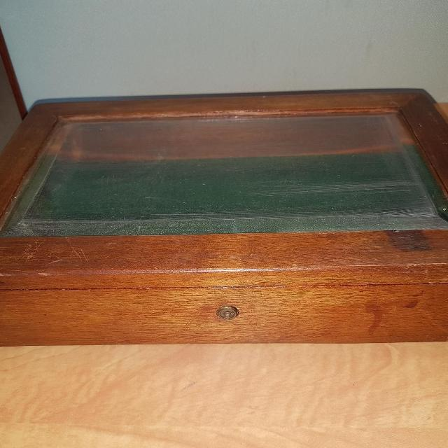 Antique Wooden Box With Beveled Glass Dovetail Joints 2 5 By 12 5 By 7 3 4 8