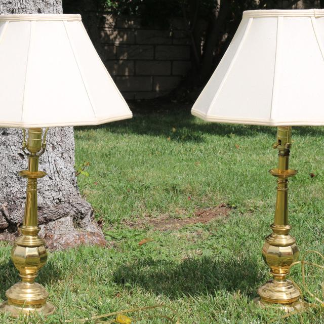 Best Large Brass Table Lamps Set Of 2 100 For Both For Sale