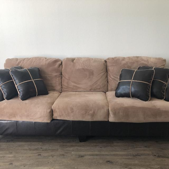 Brown Microfiber Couch With Pillows