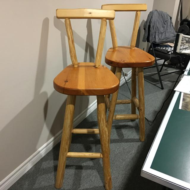 best 2 rustic log bar stools handcrafted in muskoka for sale in