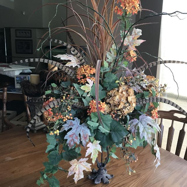 Find more gorgeous extra large silk flower floral arrangement with gorgeous extra large silk flower floral arrangement with feathers and iron stand mightylinksfo