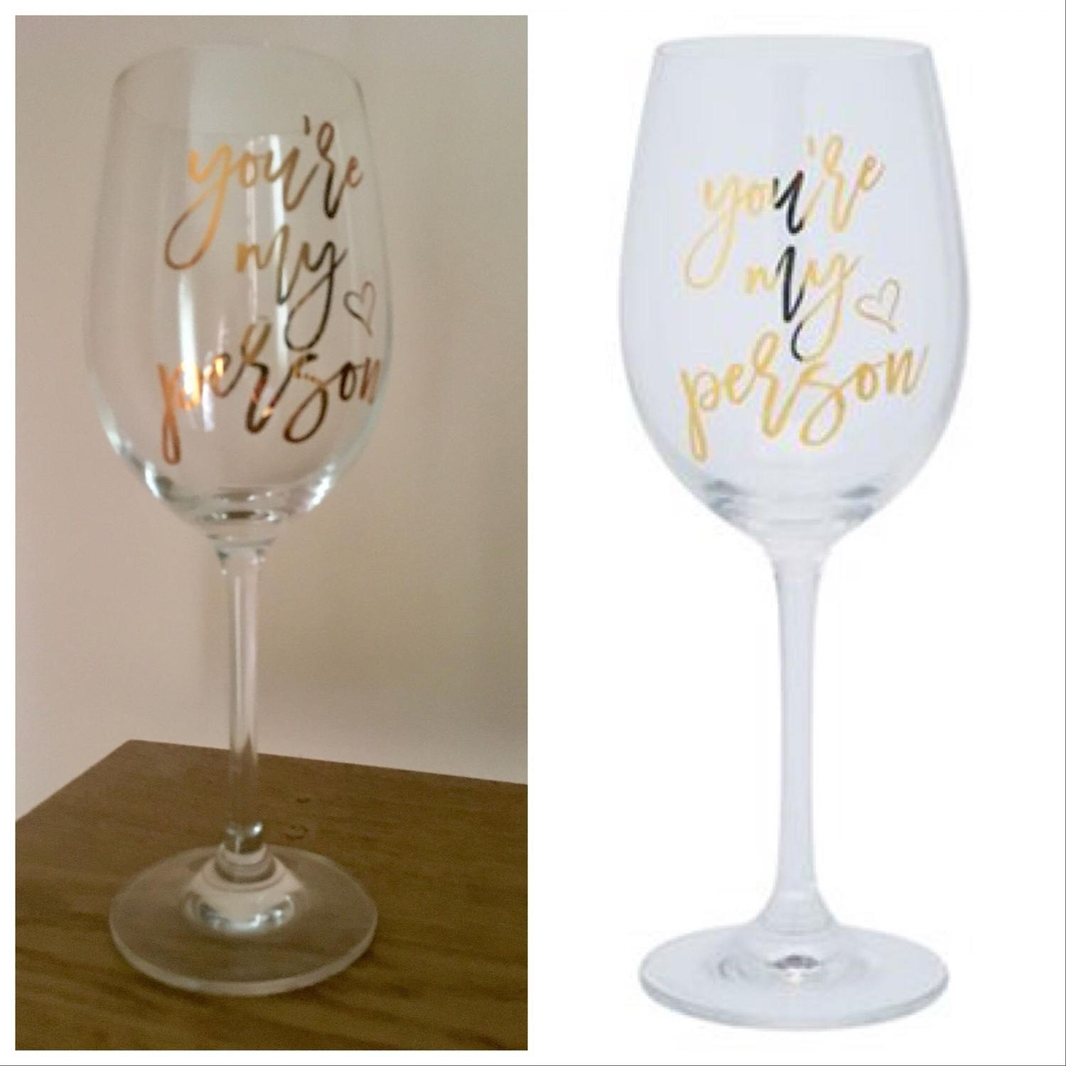 Find More Bnib Stemmed Wine Glass You Re My Person For Sale At Up To 90 Off