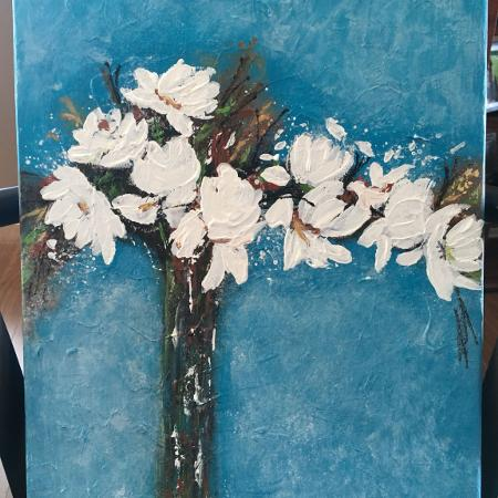 Used, Flowers abstract acrylic painting for sale  Canada
