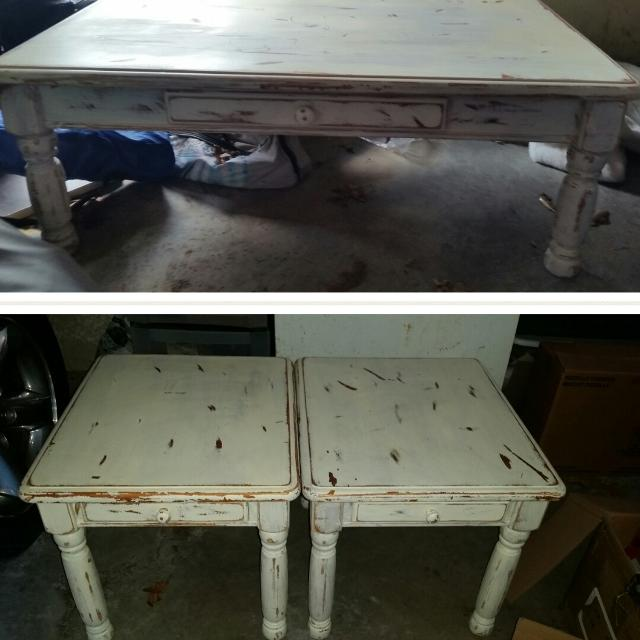 Gorgeous Solid Oak Cream Distresses Shabby Chic Coffee Table And End Tables Aet