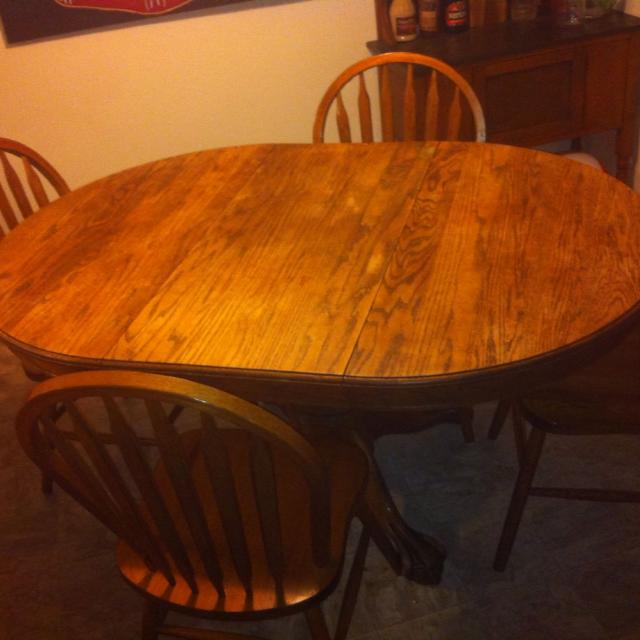 Best Antique Oak Claw Foot Pedestal Table And 4 Chairs For Sale In