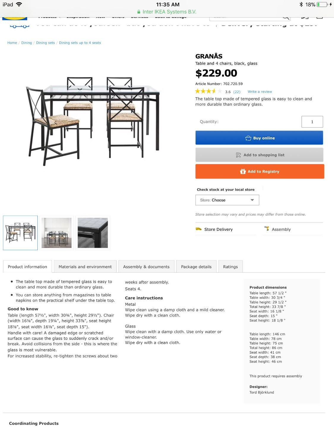 IKEA Granås Dining Table