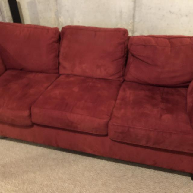 Euc Red Suede Couch And Love Seat