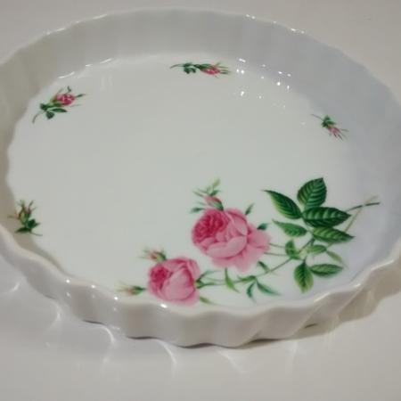Quiche pan white with pink roses for sale  Canada