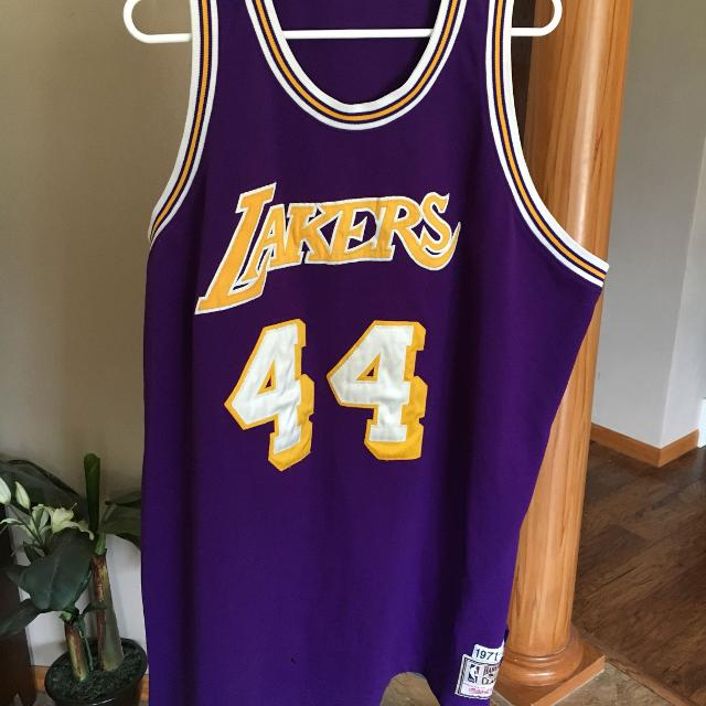 quality design fad11 dc2bc Jerry West Lakers jersey size unknown but guessing XXL