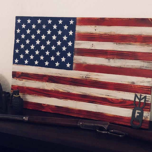 Faded Old Glory Wooden American Flag