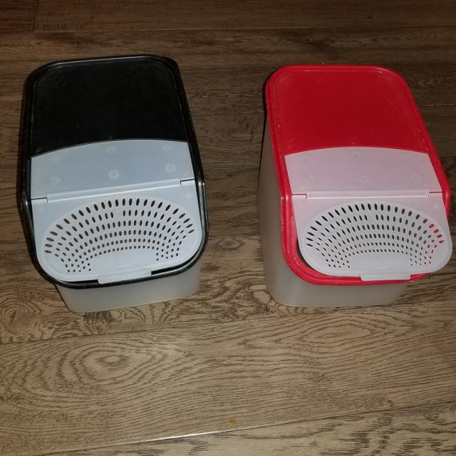 2 tupperware containers for storage potatoes or onions