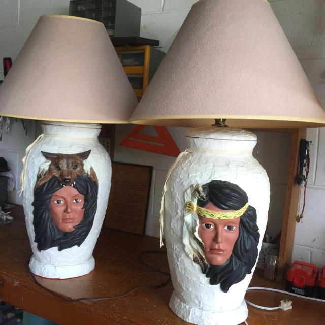 Best pair of table lamps native american theme for sale in deland pair of table lamps native american theme aloadofball Image collections