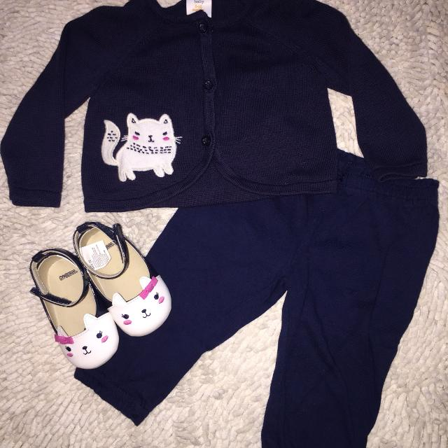 Gymboree kitty light weight shoes, cardigan and pants outfit like new! Size  6 months
