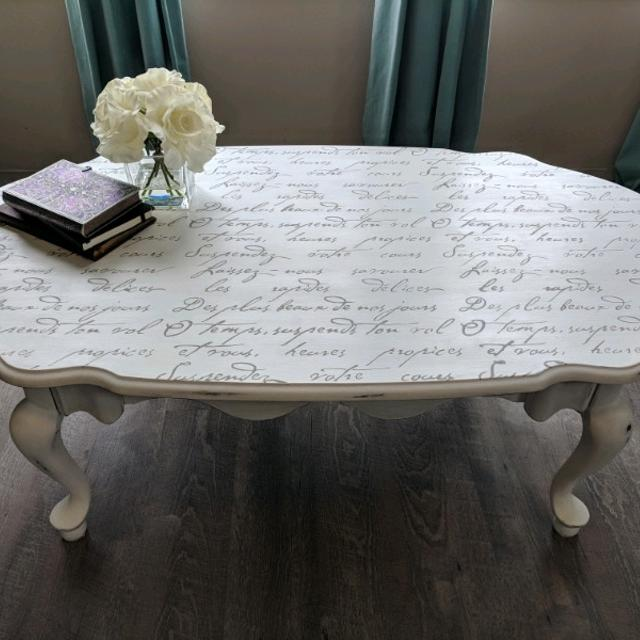 Distressed Gray Coffee Table.Beautiful Shabby Chic Coffee Table Distressed Antiqued With French Script