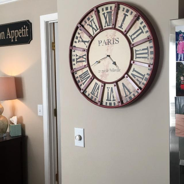 Oversized Red Wall Clock