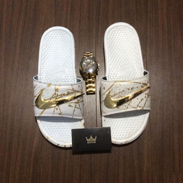 4a4286a39a2 Best Custom Gold Nike Slides for sale in Scarborough