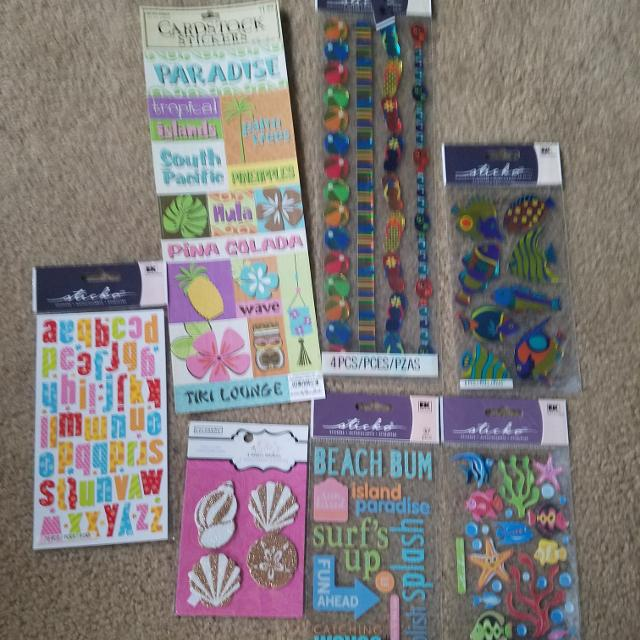 Find More Lot Of 7 Beachsummer Theme Scrapbook Stickers For Sale At