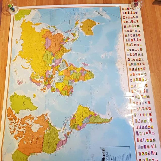 Best laminated world map with flags for sale in vancouver british laminated world map with flags gumiabroncs Image collections