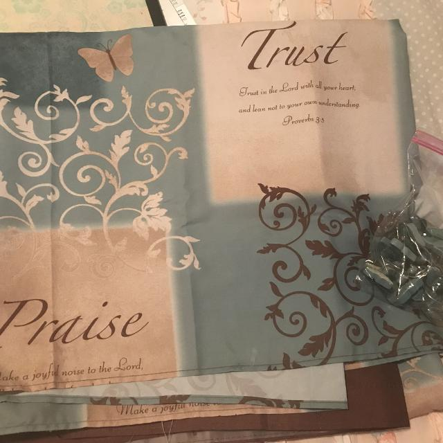Butterfly With Scripture Shower Curtain And Hooks