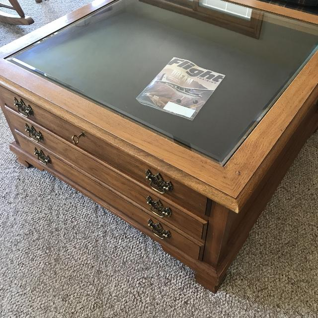 Find More Thomasville Coffee Table Shadow Box With Drawers For - Shadow box coffee table for sale